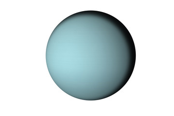 Planet Uranus of solar system isolated. Fiction blue planet. Elements of this image furnished by NASA.