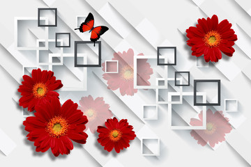 3d wallpaper, red gerbera daisy flower on white abstract background