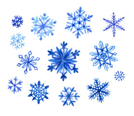 Set of snowflakes, watercolor painting on white background, isolated with clipping path. New Year's and Christmas decor snow, snowfall, winter.