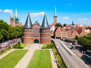 Holstentor city gate in Lubeck