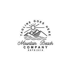 Vintage retro hipster mountain logo vector