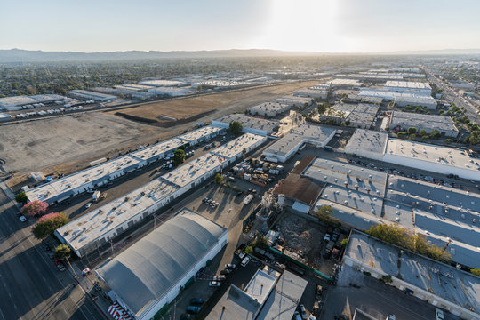 Late afternoon aerial view of industrial buildings near Burbank airport in Southern California.
