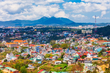 Dalat city aerial panoramic view