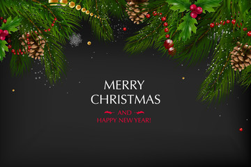 Christmas card with a composition of festive elements such as gold star, berries