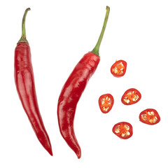 Canvas Prints Hot chili peppers Fresh Red chili pepper with sliced isolated on white background, concept of vegetable ingredients in food.top view