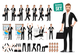 Business man vector character set. Male office person cartoon character creation with different poses and gesture holding bag or briefcase and talking for business presentation. Vector illustration.