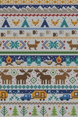 Seamless Vector Fair Isle Knit Happy Camper Winter Wonderland Woodland Animals in Blue + Turquoise