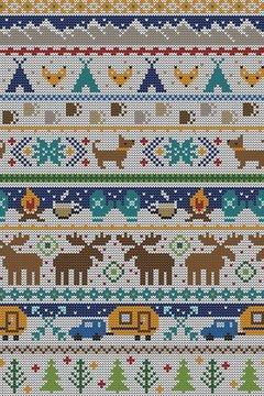 Seamless Vector Fair Isle Knit Happy Camper Winter Wonderland Woodland Animals in Blue + Turquoise