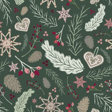 Seamless Vector Holiday Folk Floral - Straw Ornaments, Gingerbread, Pine Cones in Green, Pink & Plum
