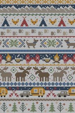 Seamless Vector Fair Isle Knit Happy Camper Winter Wonderland Woodland Animals in Brown, Red, Green