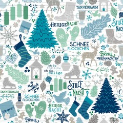 Seamless Vector German Christmas Holiday Traditions in Teal, Mint Green, Navy on Shiplap Wood Planks