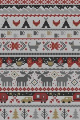Seamless Vector Fair Isle Knit Happy Camper Winter Wonderland Woodland Animals in Gray, Red, Brown