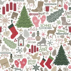 Seamless Vector German Christmas Holiday Traditions in Red, Green, Brown on Shiplap Wood Planks