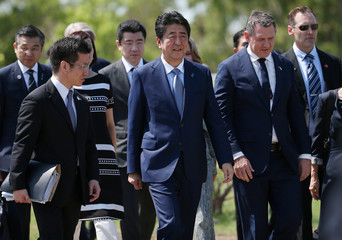 Japan's Prime Minister Shinzo Abe arrives at a memorial to the Japanese submarine I-124 in Darwin