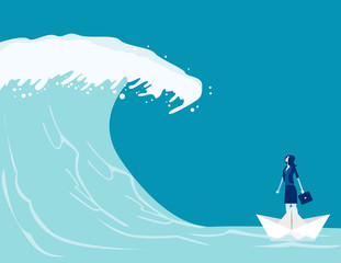 Businesswoman find barriers to success. Concept business vector illustration, Paper boat, Tsunami Wave, Challenge.