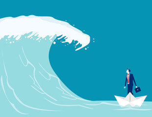 Businessman find barriers to success. Concept business vector illustration, Paper boat, Tsunami Wave, Challenge.