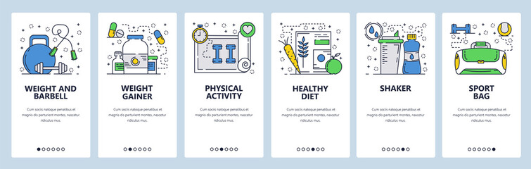 Wall Mural - Vector web site linear art onboarding screens template. Fitness and gym accessories. Weights, barbell, protein gainer, sport food and diet. Menu banners for website and mobile app development. Modern