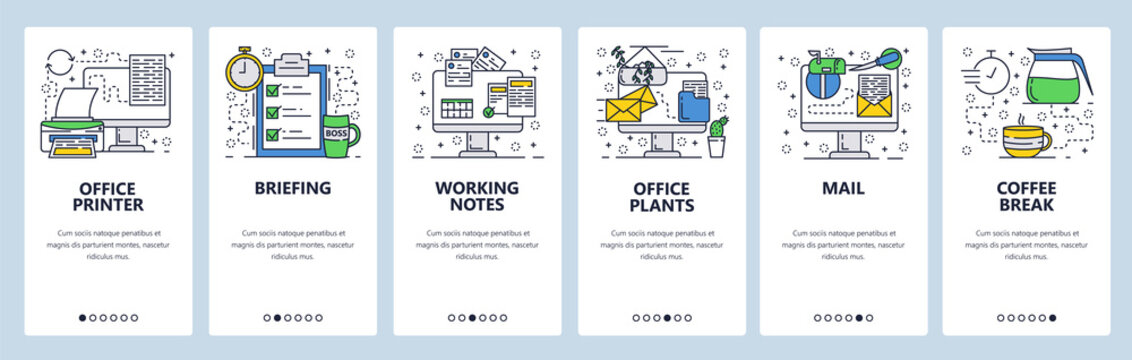 Vector web site linear art onboarding screens template. Office and business. Menu banners for website and mobile app development. Modern design flat illustration.