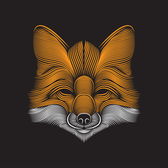 Fox head line art illustration vector. Editable element design for t shirt, poster, wallpaper, etc.