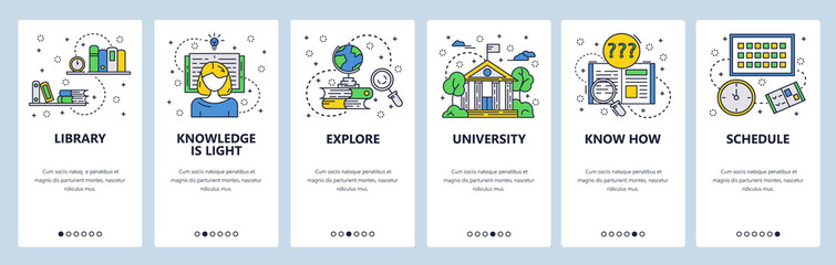 Wall Mural - Vector web site linear art onboarding screens template. Education and knowledge. University college building, library, books. Menu banners for website and mobile app development. Modern design flat