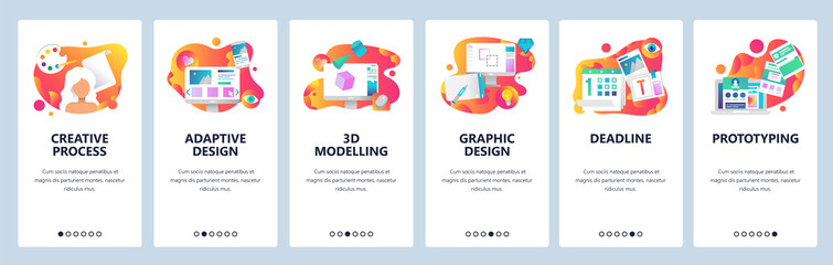 Vector web site onboarding screens gradient template. Graphic design, prototyping, creative artist and 3d modelling. Menu banners for website and mobile app development. Modern design flat Wall mural