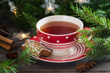 Ginger cookies with tea. Christmas composition