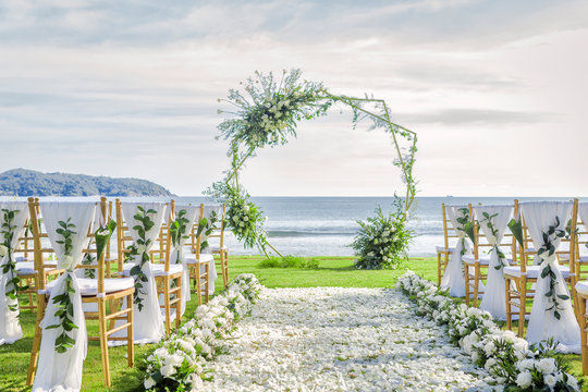 Romantic wedding ceremony on the beach in Phuket, Thailand.