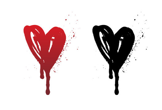 Dripping blood or red heart brush stroke isolated on white background. Hand drawn black grunge heart. Halloween concept, ink splatter illustration.