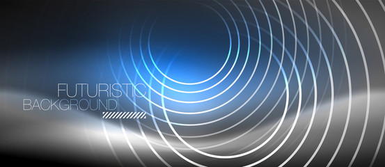Neon circles abstract background, shiny lines