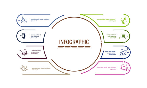 modern infographic template with 8 options vector