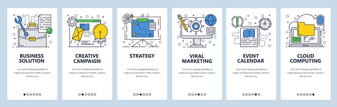 Vector web site linear art onboarding screens template. Business strategy and solutions. Menu banners for website and mobile app development. Modern design flat illustration.