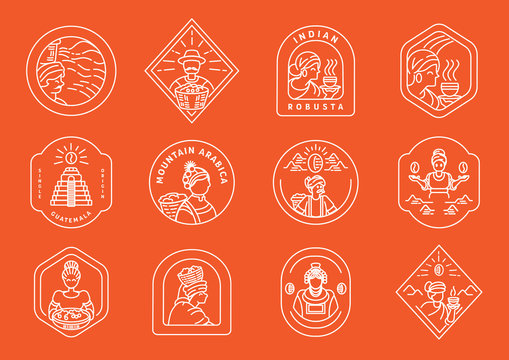 coffee farmer line badge design