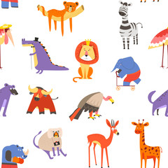 Animals seamless pattern, lion and zebra, macaque and elephant vector.