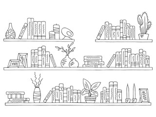 Shelves set graphic black white isolated sketch illustration vector