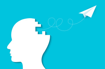 Paper plane flying out of the human head. creative idea. spark success in business. isolated blue background. cartoon vector illustration
