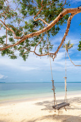 Fototapete - Beautiful tropical delightful extraordinary bright paradise landscape, swings by the sea