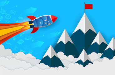 space shuttle launch to the sky go to goal to achieve success. start up business finance concept. competing for success and corporate goal. creative idea. leadership. icon. cartoon vector illustration