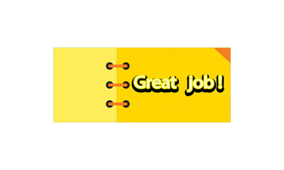 great job label ,yellow and orange color . rectangle banner and badges design.On white background..
