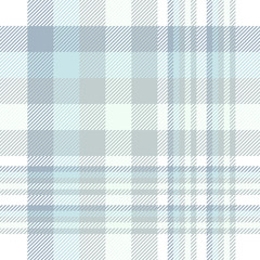 Plaid pattern in muted blues, greens and white.