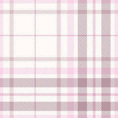 Plaid pattern in white, pink and faded purple.