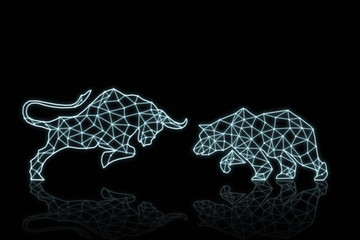 polygonal bull and bear shape writing by lines and dots over dark baclground, trading and finance investment concept