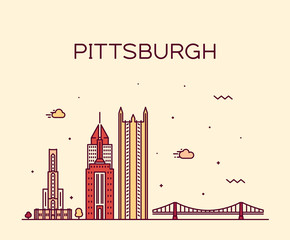 Wall Mural - Pittsburgh a skyline vector Pennsylvania USA line