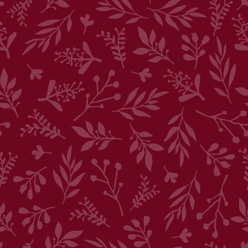 Seamless vector background with abstract leaves red. Simple leaf texture in red, endless foliage pattern. Subtle Christmas background. Paper, pattern fill, web banner, fabric, cards, invitation