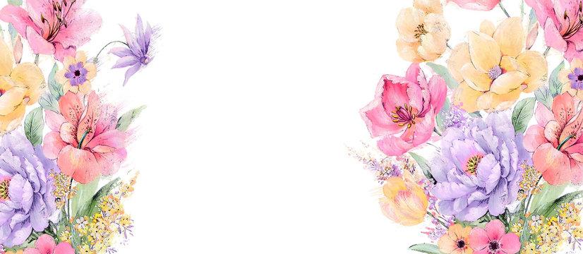 Elegant watercolor rose and peony flower