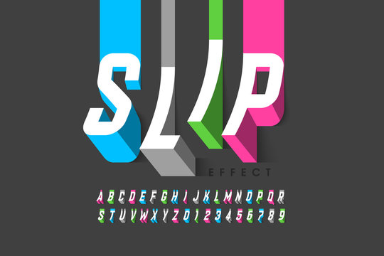 Slipping effect font, alphabet letters and numbers