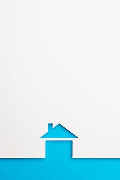 background of basic house on blue border