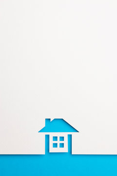 background of complete house on blue border