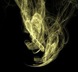 Yellow fractal illustration on black background. Fantasy fractal texture. Digital art. 3D rendering. Computer generated image.