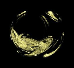 Yellow sphere fractal on black background. Fantasy fractal texture. Digital art. 3D rendering. Computer generated image.