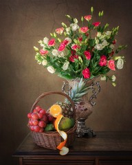 Still life with bouquet of beautiful flowers